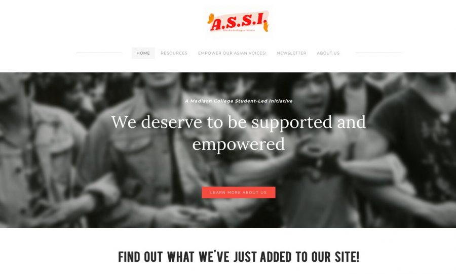 A screenshot of the Asian Student Support Initiative website.