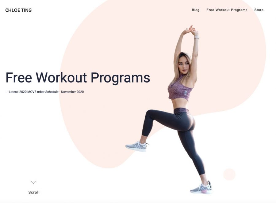 A free workout option are the exercise videos by Chloe Ting.