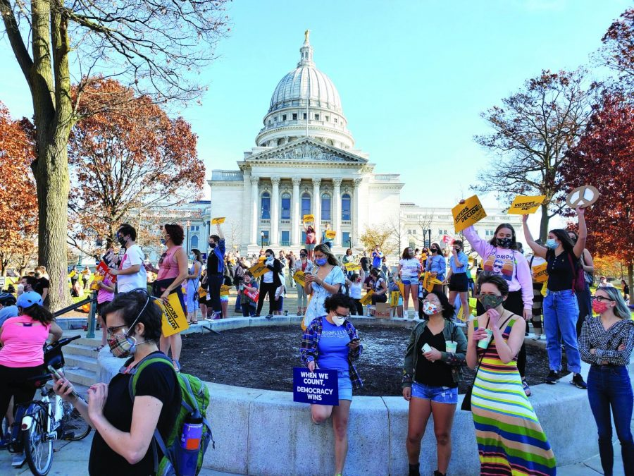 Joe Biden's supporters gather at the capitol to celebrate his presidential victory.