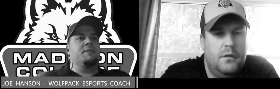 Madison+College+Esports+coach+Joe+Hanson+answers+questions+during+an+interview+posted+on+the+WolfPack+Athletics+website.