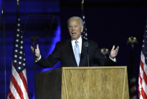 President-elect Joe Biden addresses supporters at Chase Center in Wilmington, Del., on Nov, 7, 2020, after being named the winner of the Nov. 3 election.