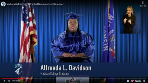 Alfreeda L. Davidson, a nursing graduate, was the student speaker for the Fall 2020 graduation.