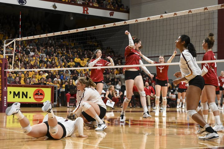 The Badger volleyball team competes against Minnesota during a match from the 2019 season.