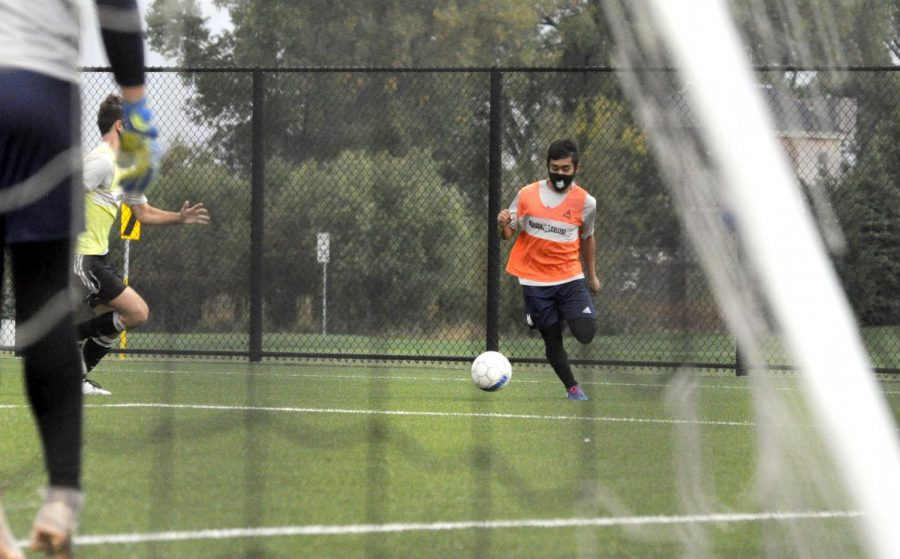 Face coverings will be standard equipment again when Madison College athletic practices resume this March. The men's soccer team, show practicing during the fall semester, are among the teams hoping to begin competion later this semester.