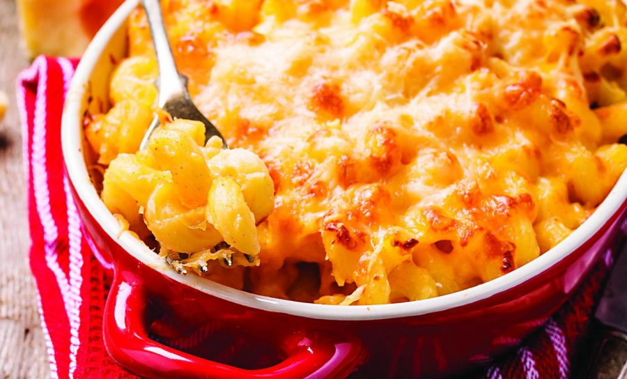 Homemade macaroni and cheese.