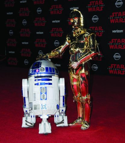 "R2-D2 and C-3PO, characters from the ""Star Wars"" franchise."