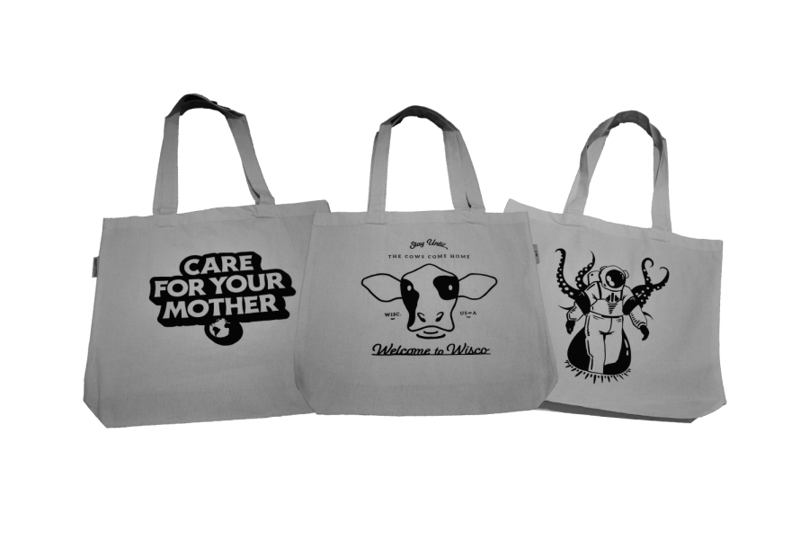 A variety of tote bag options are available for purchase. All proceeds will support the Madison College Center for Printing Arts.