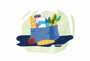 Illustration of a bag with groceries.