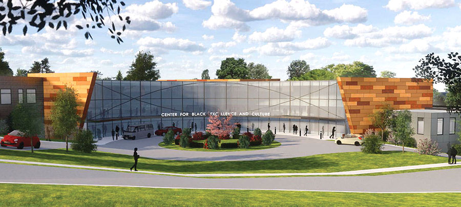 A 3D rendering shows The Center for Black Excellence and Culture building.