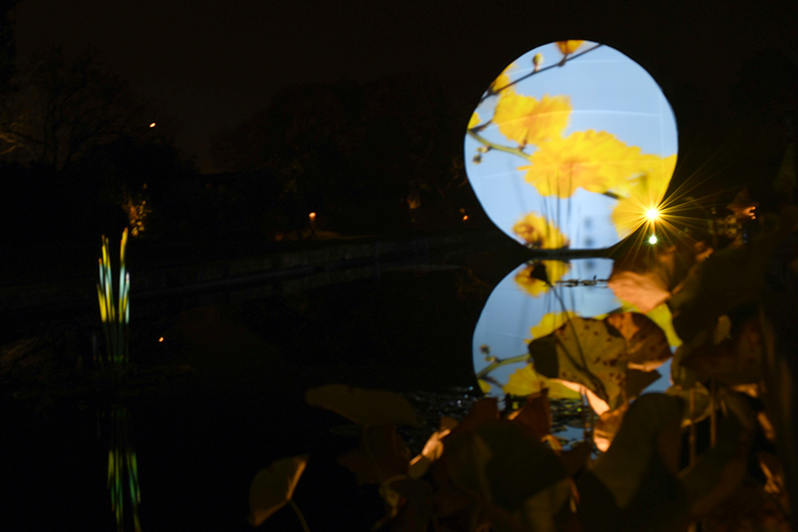 """""""Reflection"""" by Jen Fuller is installed by Olbrich Garden's reflection pond."""