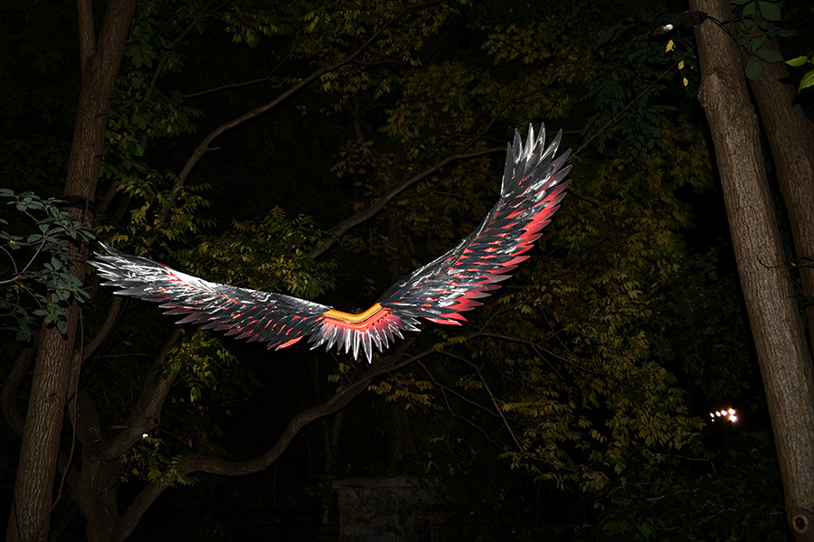 A photo of Night Birds sculpture by Micheal Young