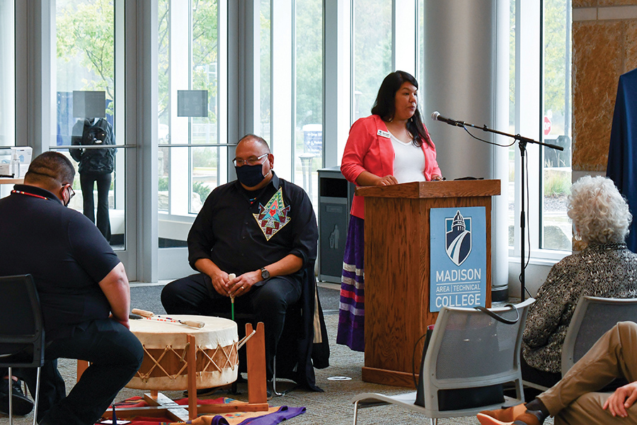 Madison College Community Engagement Coordinator Nicole Soulier speaks at the land acknowledgement event on Oct. 11.